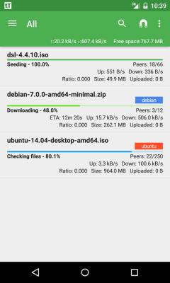 tTorrent Lite - бесплатный торрент-клиент